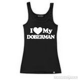 I Love My Doberman Womens Fitted Tank