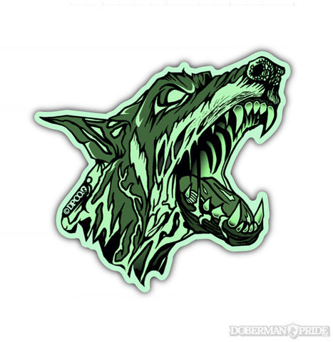 Glow-in-the-dark Zombie Doberman Sticker