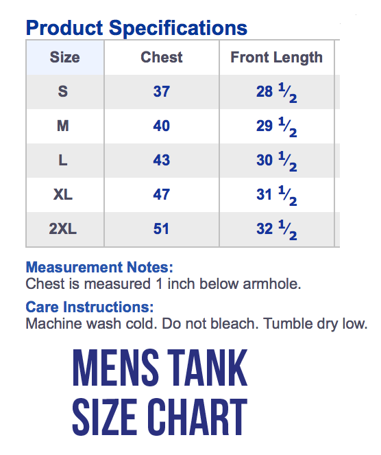 Men S Tank Top Size Chart The Shop Forward