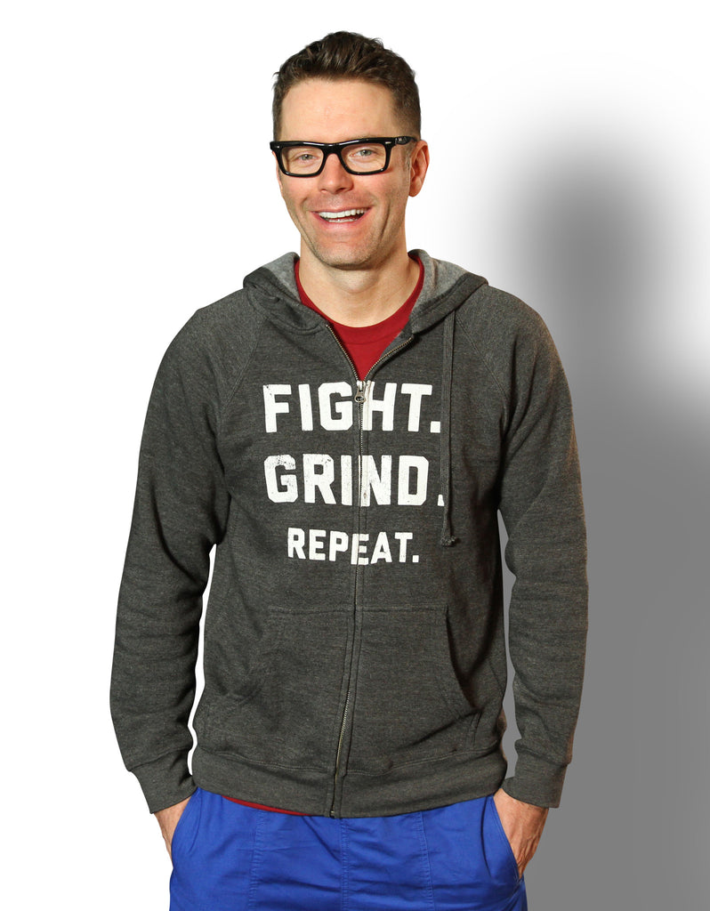 FIGHT. GRIND. REPEAT. Zip Hoodie - Gray