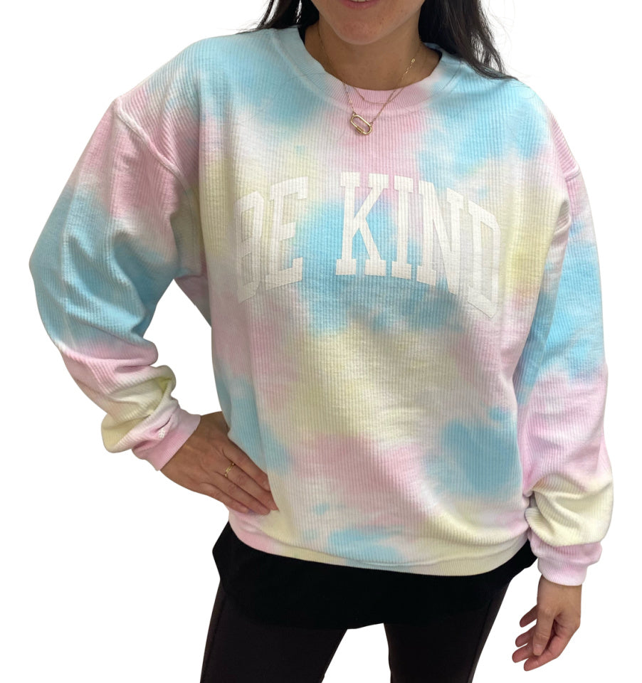 BE KIND Corded Crew Pullover - Faded Tie Dye