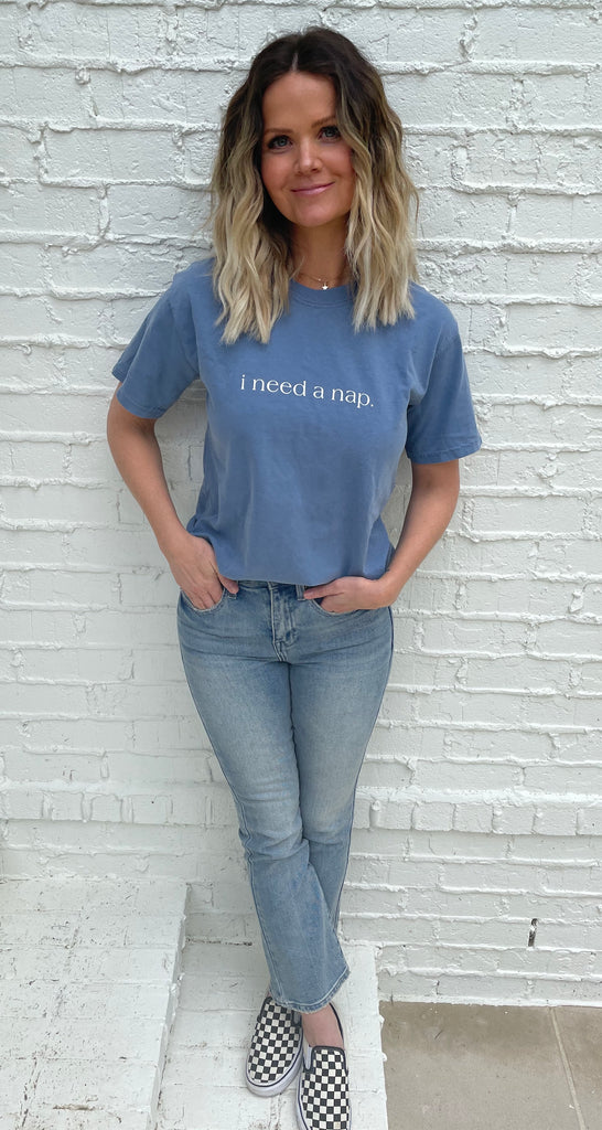 'i need a nap' Relaxed Fit Unisex Tee - Faded Blue