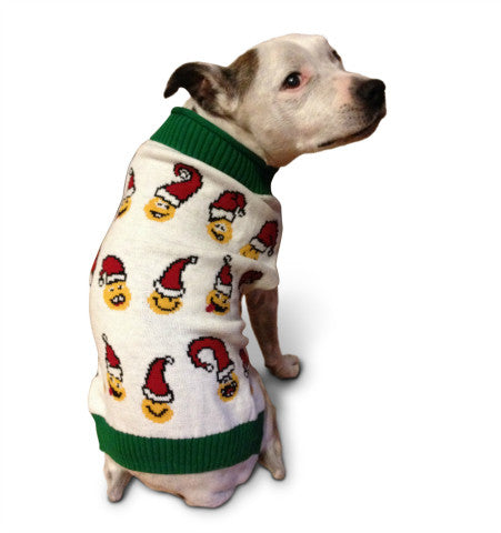 Ugly Christmas Dog Sweater - Santa Emojis