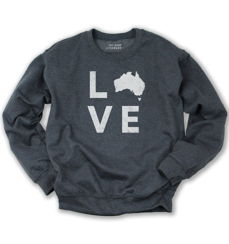 LOVE Shape of Australia Unisex Pullover - Charcoal