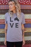 LOVE Shape of Australia Unisex T-Shirt - Grey Heather