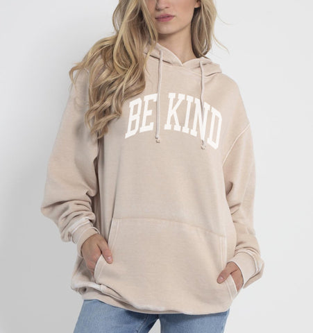 BE KIND Relaxed Fit Burnout Hoodie - Oatmeal