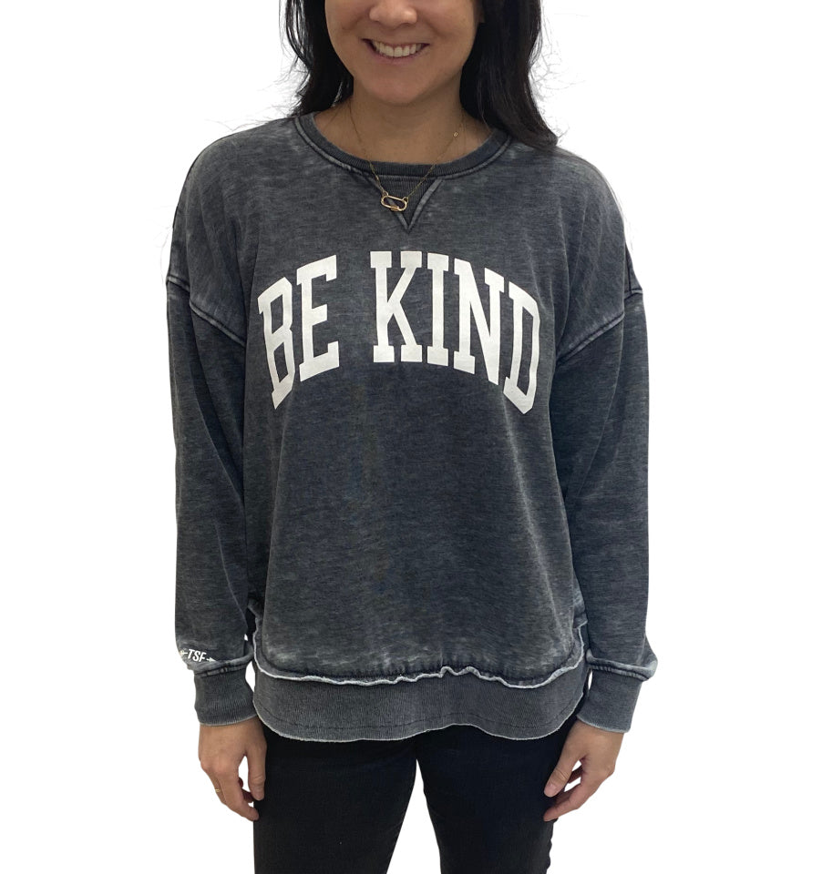 BE KIND Burnout Hi Lo Crew - Charcoal