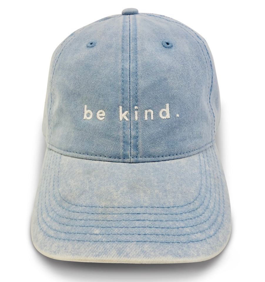 'be kind.' Faded Denim Dad Hat