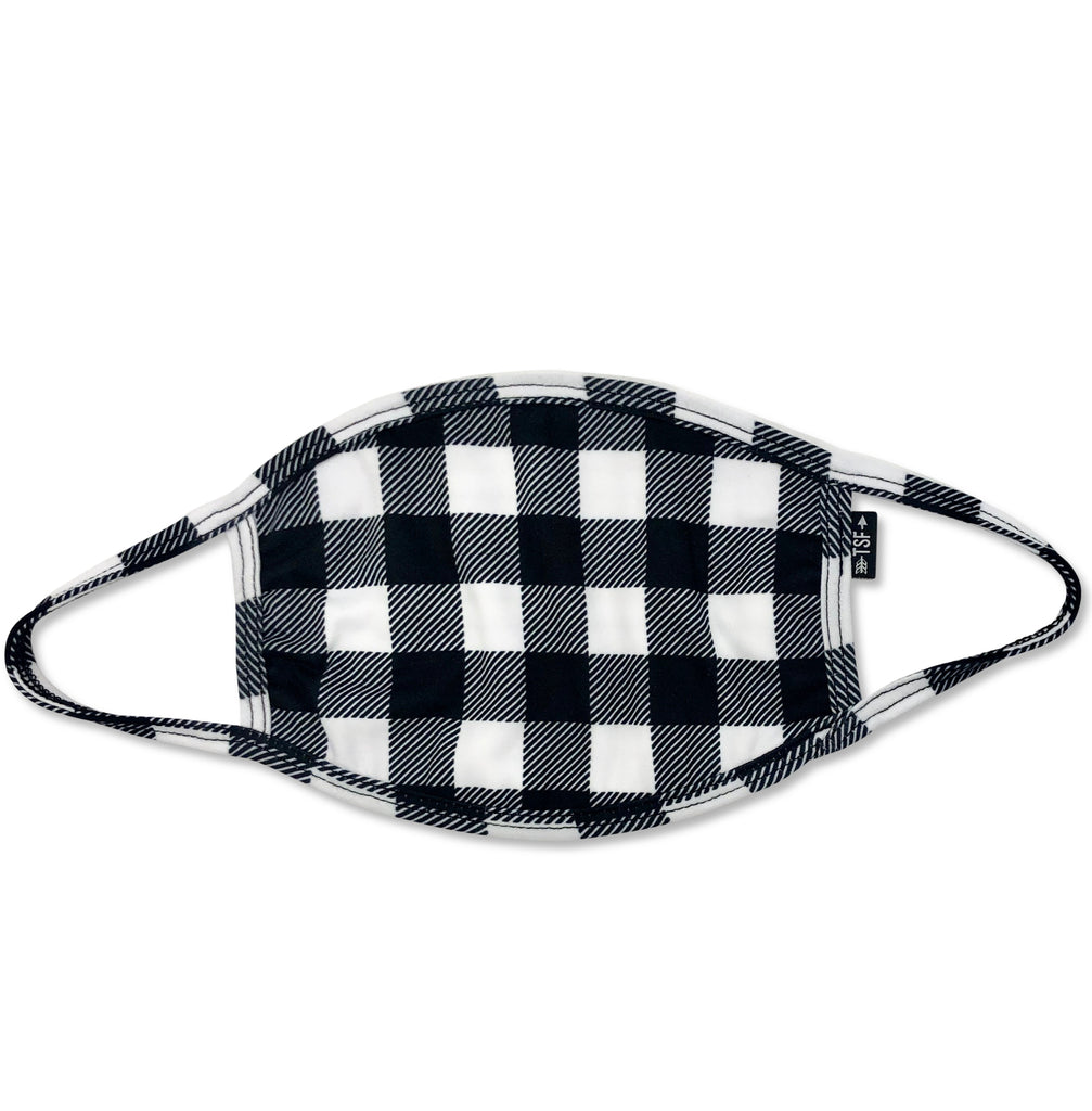 Cloth Face Mask - Black & White Buffalo Plaid