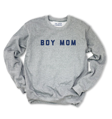 BOY MOM Pullover Sweatshirt - Grey & Navy