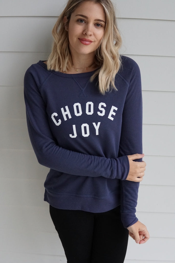 'CHOOSE JOY' Women's French Terry Sweatshirt - Navy