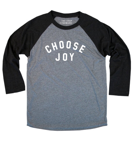 'CHOOSE JOY' Baseball Tee - Black / Grey