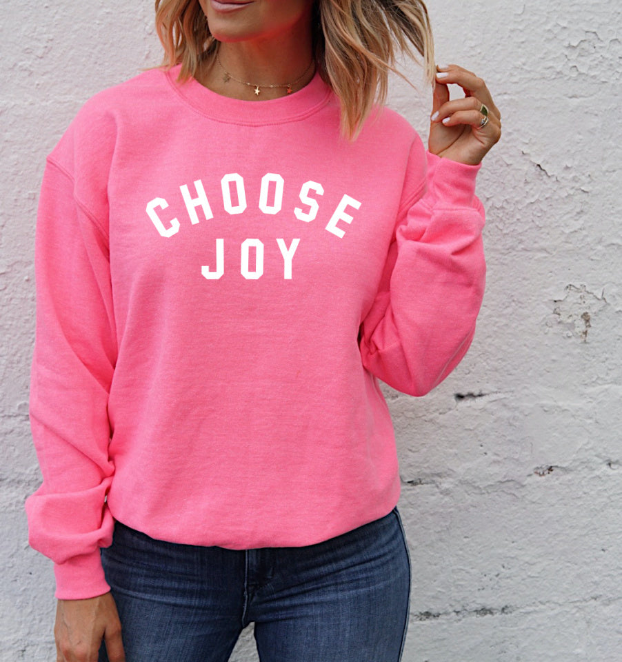 CHOOSE JOY Unisex Pullover - Neon Pink