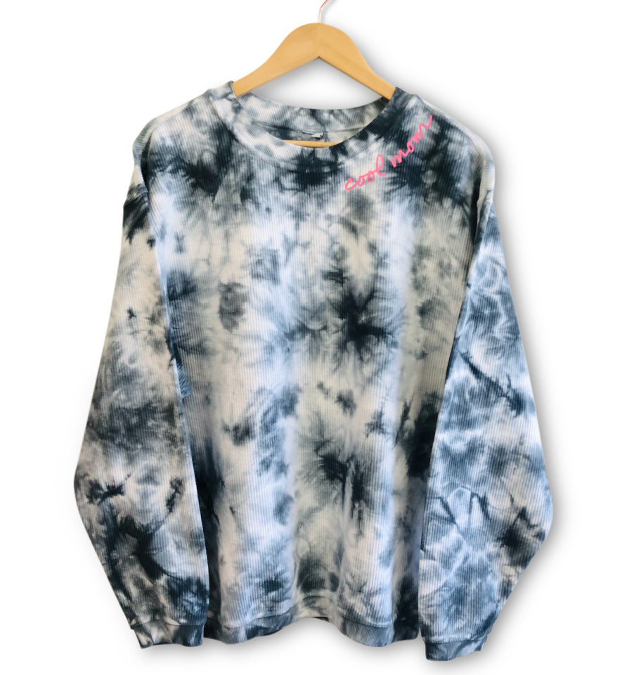 COOL MOM™ Embroidered Corded Pullover - Tie Dye with Neon Pink