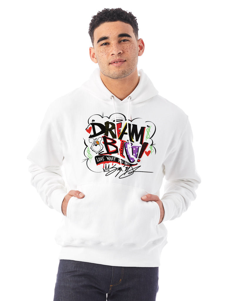 DREAM BIG Champion Unisex White Hoodie by King Saladeen