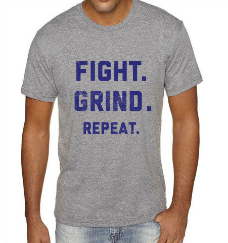 FIGHT. GRIND. REPEAT. T-Shirt - Grey/Navy