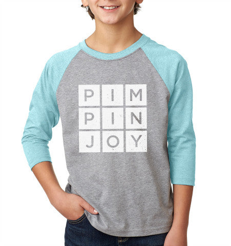 Kids #PIMPINJOY Baseball Tee - Lt. Blue / Grey