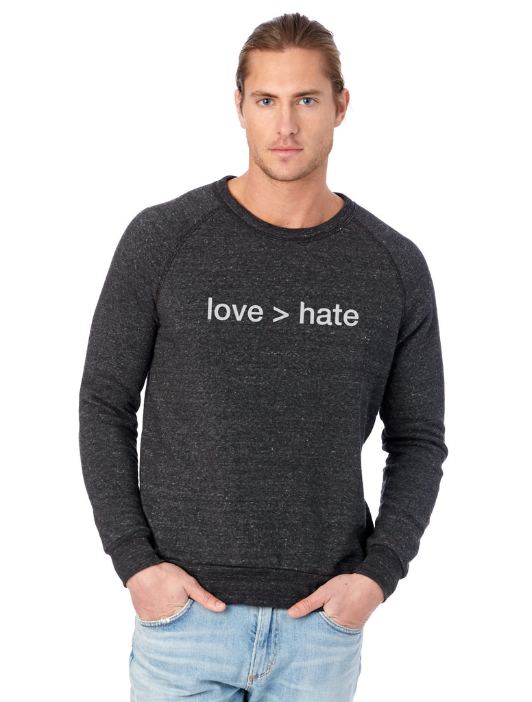'love > hate' Unisex Pullover Sweatshirt - Black