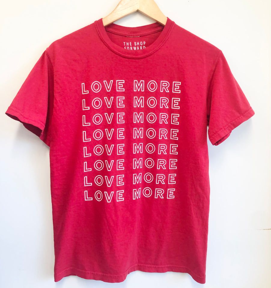 LOVE MORE Repeat Unisex Relaxed Fit Tee - Red