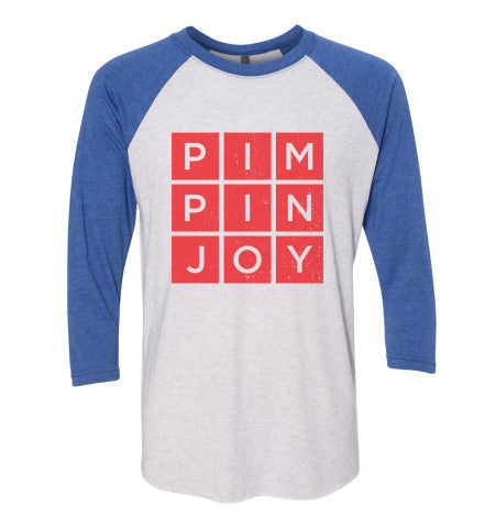 Unisex #PIMPINJOY Baseball Tee- Red/ White/ Blue