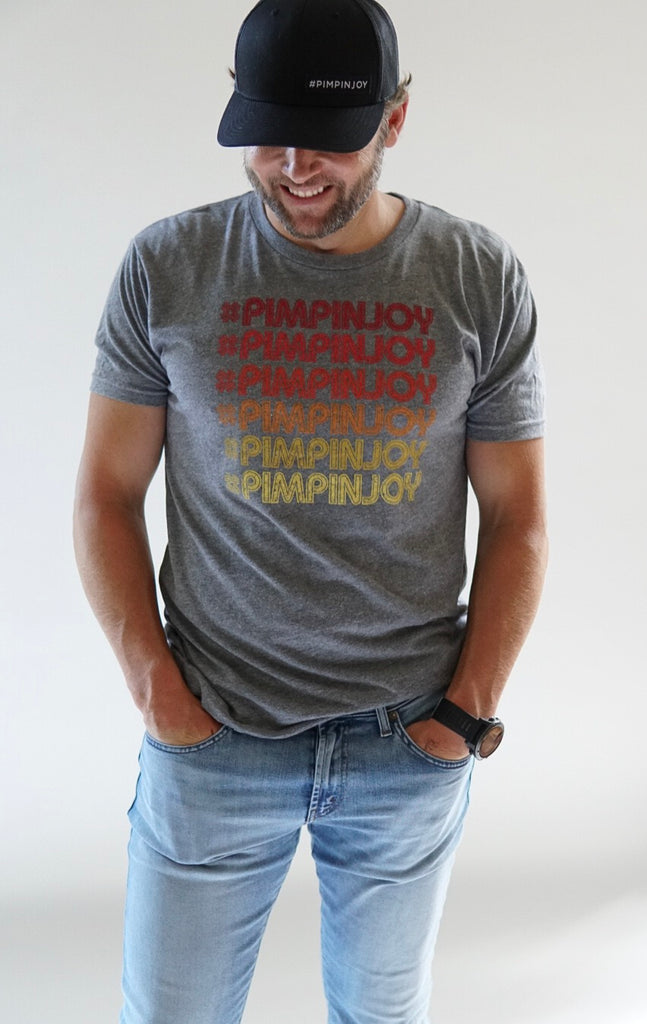 Adult #PIMPINJOY Retro Repeat Unisex T-Shirt - Grey + Red