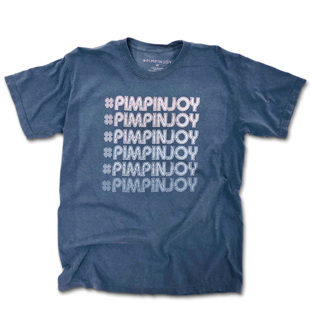 #PIMPINJOY Repeat Unisex Relaxed Fit Tee - Faded Vintage Blue
