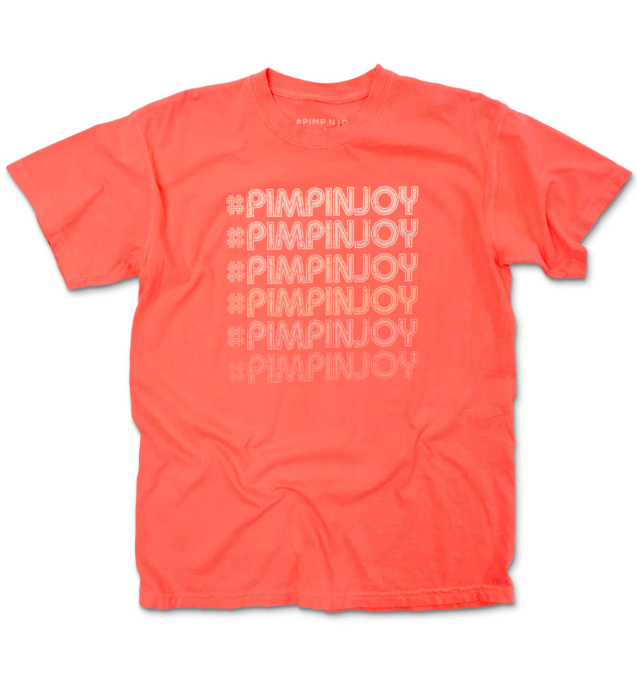 #PIMPINJOY Repeat Unisex Relaxed Fit Tee - Neon Orange