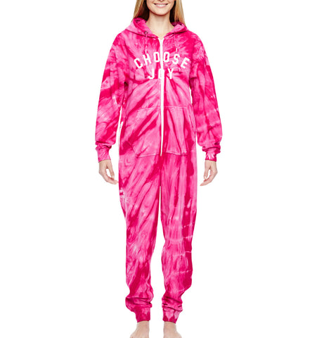CHOOSE JOY Adult Onesie Jumpsuit - Pink Tie Dye