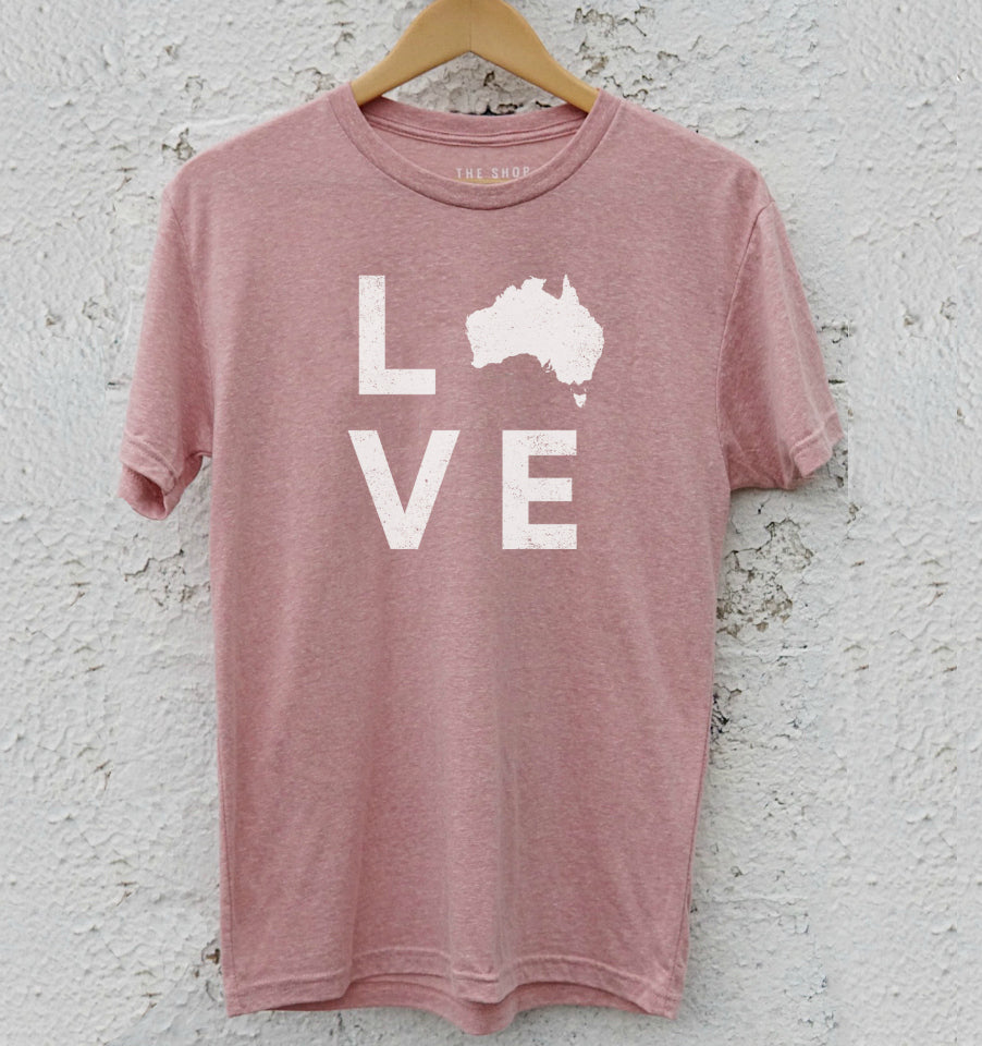 LOVE Shape of Australia Unisex T-Shirt - Desert Pink