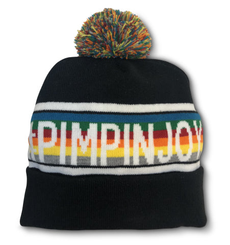 #PIMPINJOY Pom Beanie - Multi-Color Black