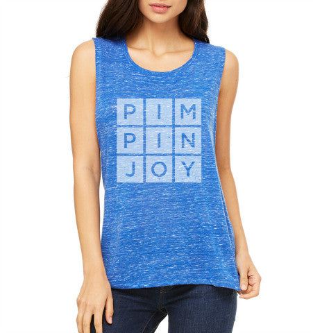 #PIMPINJOY Women's Muscle Tank - Blue