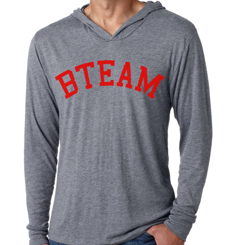 BTEAM Lightweight Hoodie - Grey & Red