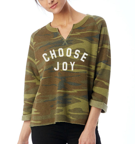 CHOOSE JOY Cropped Camo Sweatshirt