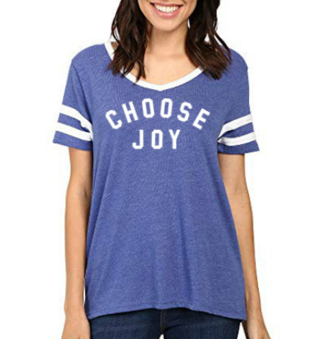 CHOOSE JOY Women's Jersey V-Neck Tee - Royal Blue