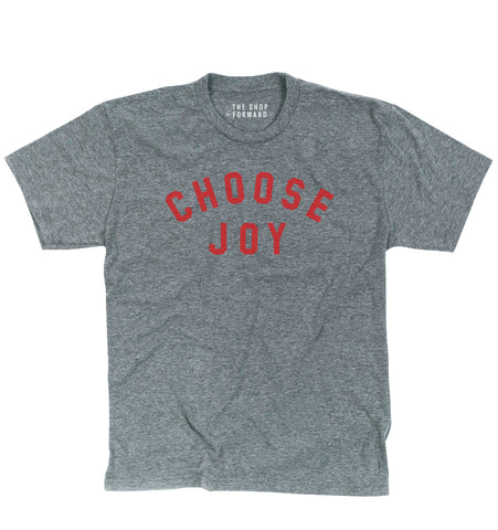 CHOOSE JOY Unisex Tee - Grey & Red