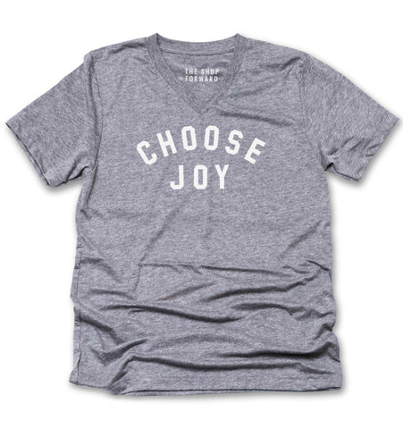 CHOOSE JOY Unisex V-Neck Tee - Grey
