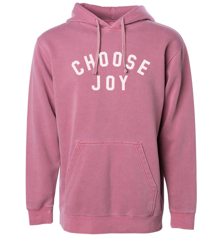 CHOOSE JOY Unisex Pigment Dyed Hoodie - Faded Maroon