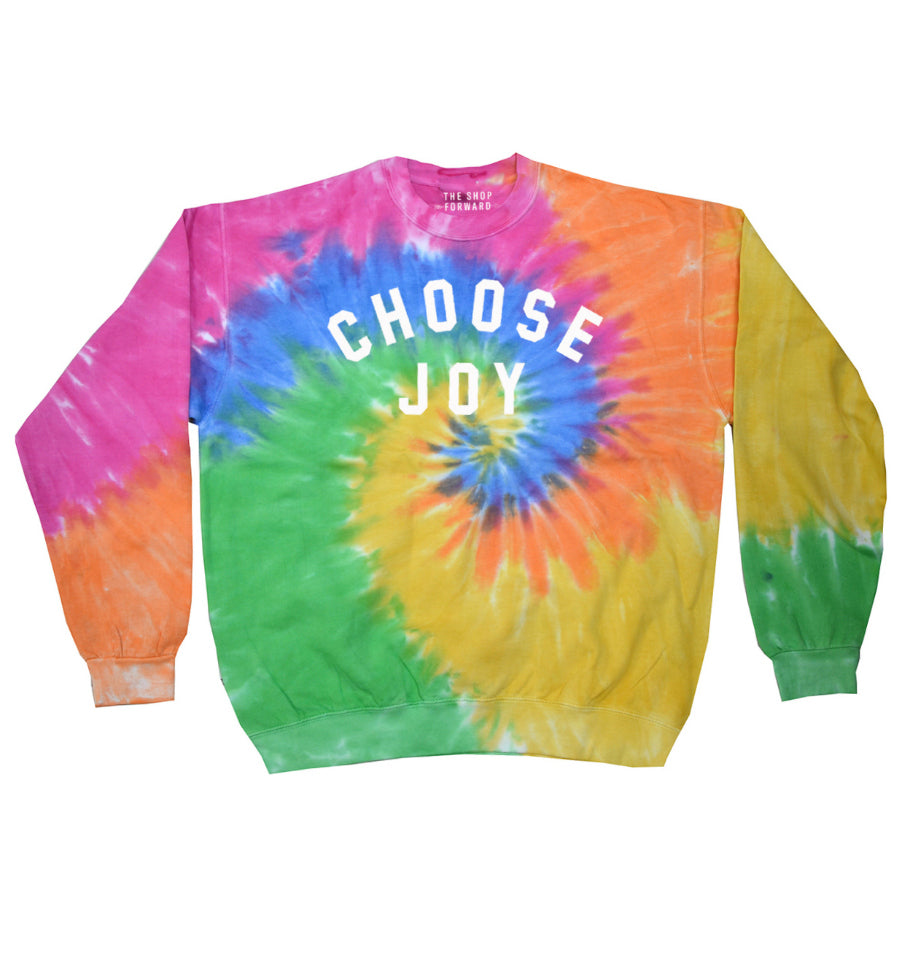CHOOSE JOY Unisex Faded Neon Tie-Dye Pullover