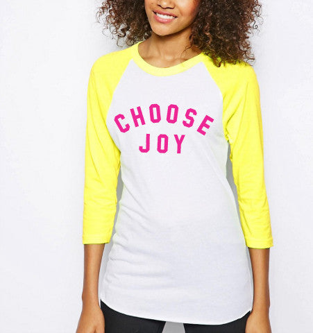 'Choose Joy' Baseball Tee - Neon Yellow / Pink
