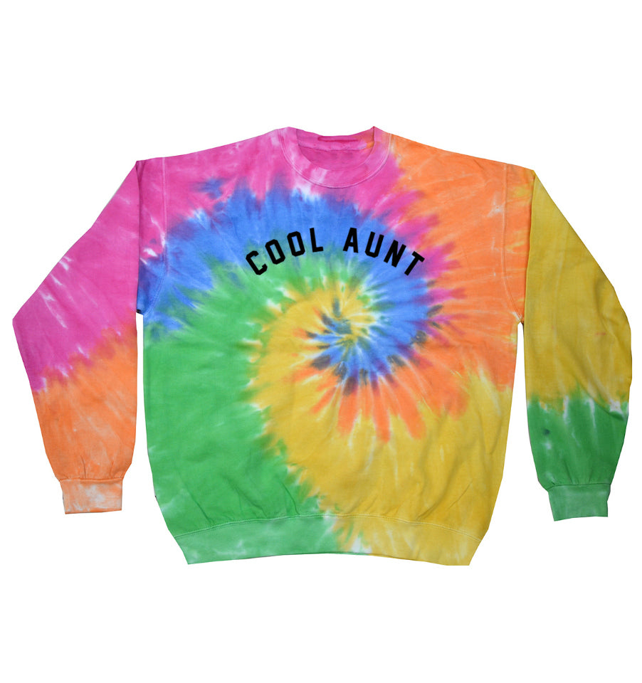 COOL AUNT Faded Neon Tie-Dye Sweatshirt