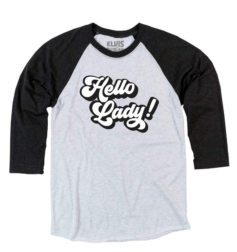 'Hello Lady' Unisex Baseball Tee - Black + White