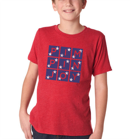Kids #PIMPINJOY T-Shirt - Red w/ Stars