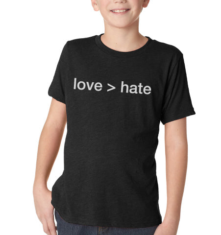 Kids 'love > hate' T-Shirt - Black