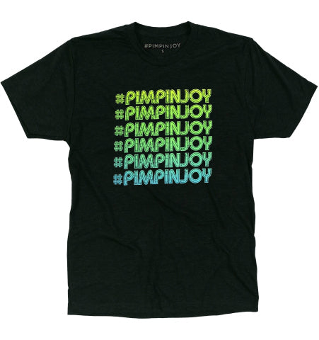 Adult #PIMPINJOY Green Ombre Repeat Unisex T-Shirt - Black