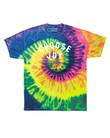 Kids CHOOSE JOY Bright Neon Tie Dye Tee