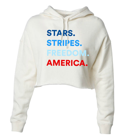 4 THINGS® Patriotic Women's Cropped Hoodie