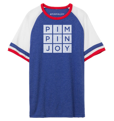 #PIMPINJOY Unisex Jersey Ringer Tee- Red/White/Blue