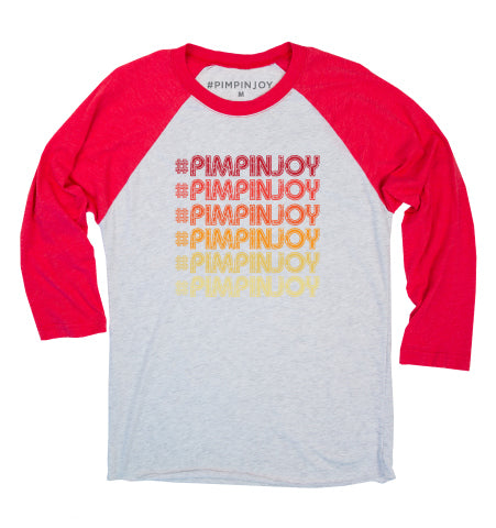 #PIMPINJOY Retro Repeat Baseball Tee - Red