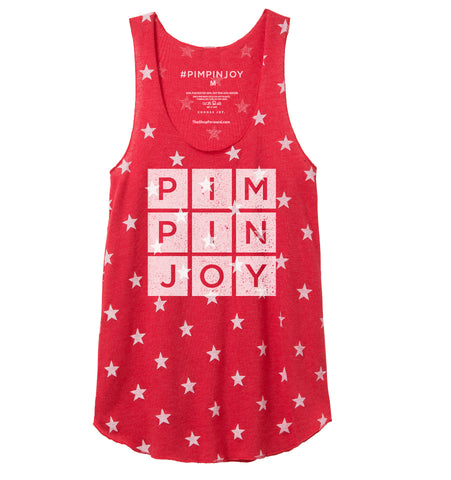 Women's #PIMPINJOY Tank - Red Stars