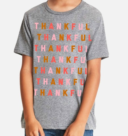 THANKFUL Repeat Kid's T-Shirt - Grey Multi